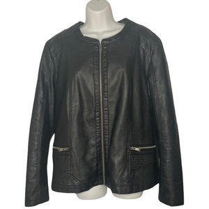 Black Faux Leather Moto Jacket Front Zipper Sz XXL